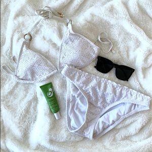 White bikini with eyelet details